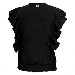 Retour jeans girls valerie top met ruches en studs in de kleur zwart