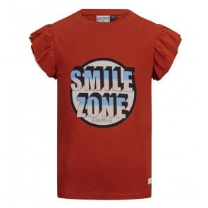 Retour jeans girls Brenda t-shirt smile zone in de kleur roestbruin