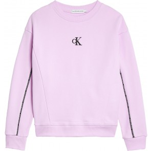 Calvin Klein kids girls piping boxy sweatshirt sweater in de kleur lila