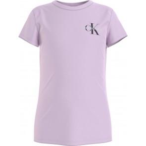 Calvin Klein kids girls chest monogram t-shirt in de kleur lila