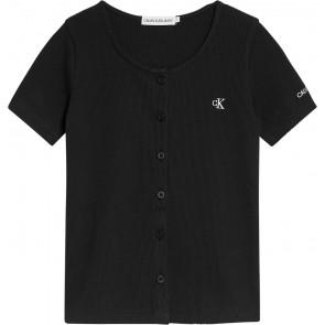 Calvin Klein kids girls button closure rib top in de kleur zwart