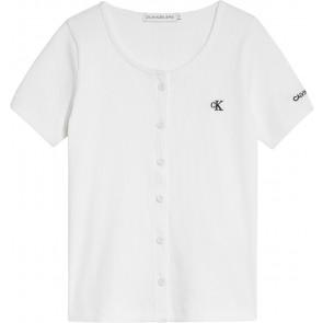 Calvin Klein kids girls button closure rib top in de kleur wit