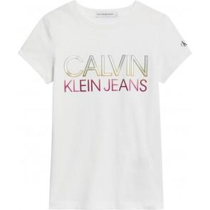 Calvin Klein kids girls gradient logo t-shirt in de kleur wit