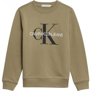 Calvin klein kids boys monogram logo sweater trui in de kleur olive groen