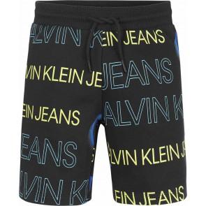 Calvin klein kids boys korte broek logo print jogger in de kleur zwart