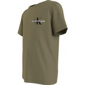 Calvin klein kids boys chest monogram t-shirt in de kleur army groen