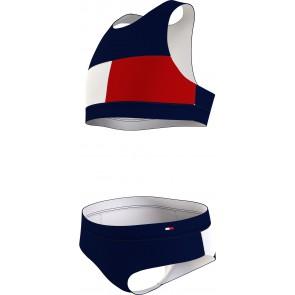 Tommy Hilfiger kids girls bikini crop set in de kleur blauw/rood
