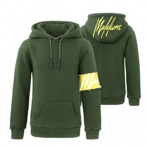 Malelions kids junior captain hoodie sweater trui met logo print in de kleur army green