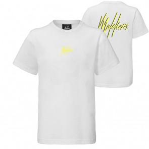 Malelions kids junior t-shirt double signature in de kleur wit/geel