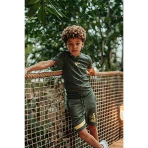Malelions kids junior t-shirt mini logo Gini met logo print in de kleur army green groen