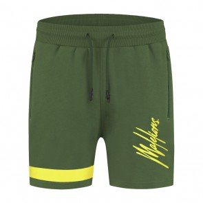 Malelions kids junior trackshort Pablo korte broek in de kleur army green
