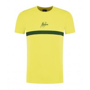 Malelions kids junior t-shirt tonny met groene streep in de kleur geel