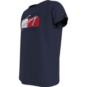 Tommy Hilfiger kids girls flag print tee shirt in de kleur donkerblauw