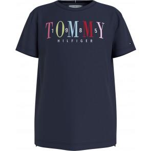 Tommy Hilfiger kids girls multi text teen sateen tee shirt in de kleur donkerblauw