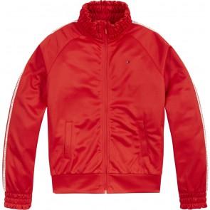 Tommy Hilfiger kids girls tape tracksuit top trainings jasje in de kleur rood
