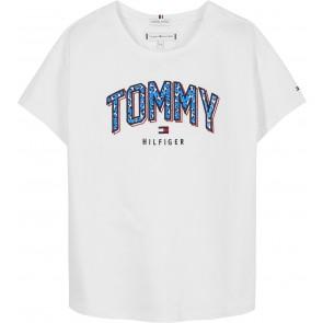 Tommy Hilfiger kids girls satin print tee shirt in de kleur wit