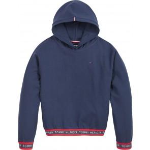 Tommy Hilfiger kids girls logo rib hoodie sweater trui in de kleur donkerblauw