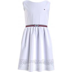 Tommy Hilfiger kids girls shiffley dress jurk met ruches in de kleur wit