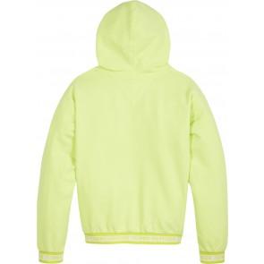 Tommy Hilfiger kids girls logo rib hoodie sweater trui in de kleur lime groen
