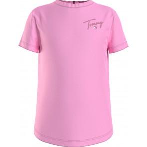 Tommy Hilfiger kids girls multi tommy tee shirt in de kleur cotton candy roze