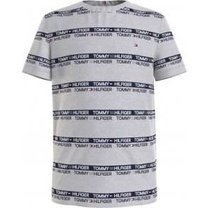 Tommy Hilfiger kids boys printed tape tee shirt in de kleur grijs