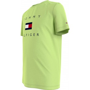 Tommy Hilfiger kids boys hilfiger logo tee shirt in de kleur lime green