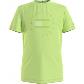 Tommy Hilfiger kids boys heritage logo tee shirt in de kleur lime green