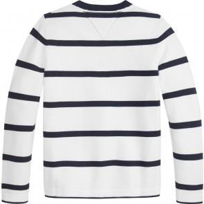Tommy hilfiger kids boys fijngebreide striped sweater trui in de kleur blauw/wit