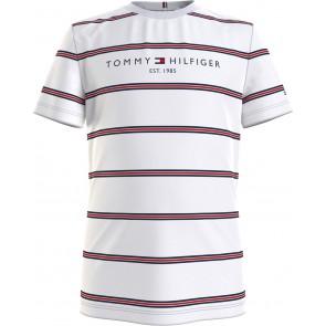 Tommy hilfiger kids boys essential stripe tee shirt in de kleur blauw/wit
