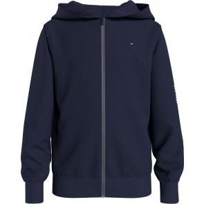 Tommy Hilfiger kids boys essential hoodie zip through vest in de kleur donkerblauw
