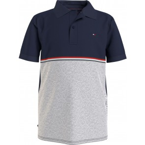 Tommy Hilfiger kids boys colorblock tape polo shirt in de kleur blauw/grijs