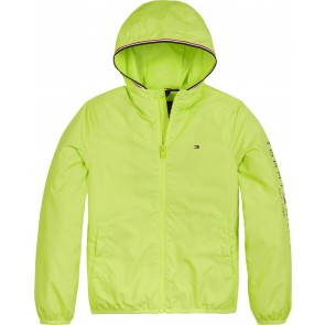 Tommy Hilfiger kids boys essential hooded logo jacket zomerjas in de kleur lime green