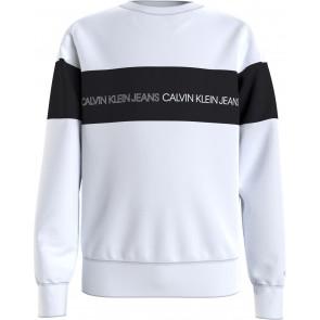 Calvin Klein kids boys logo sweatshirt sweater trui in de kleur zwart/wit