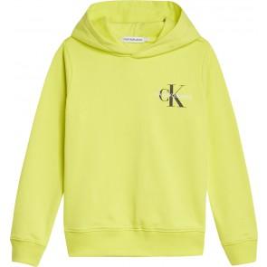 Calvin Klein kids boys small monogram logo hoodie sweater trui in de kleur lime green