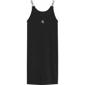 Calvin Klein kids girls logo tape strapp dress jurk in de kleur zwart