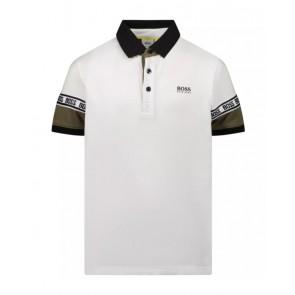 Hugo Boss kids polo shirt met logo bies in de kleur wit