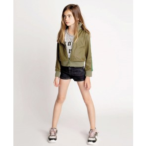 Zadig en Voltaire kids girls sweatvest met glitterbies in de kleur army green