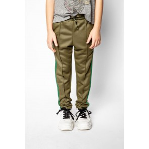 Zadig en Voltaire kids girls sweatpants broek met glitterbies in de kleur army green
