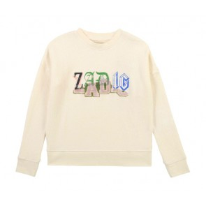 Zadig en Voltaire kids girls sweater trui met letter print in de kleur off white