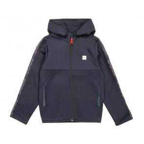 Hugo Boss kids hoodie zip through vest met logo bies in de kleur donkerblauw