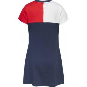 Tommy hilfiger kids girls colourblock dress jurk in de kleur blauw/rood