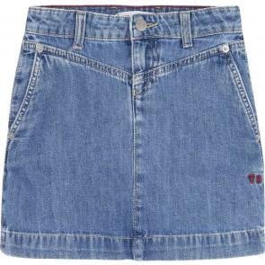 Tommy hilfiger kids girls denim skirt spijker rok in de kleur jeansblauw