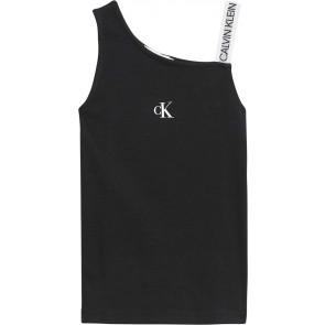Calvin klein kids girls asymmetric logo strap top in de kleur zwart