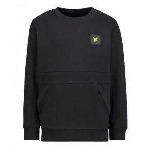 Lyle and Scott sweater trui met logo patch en voorzak in de kleur zwart