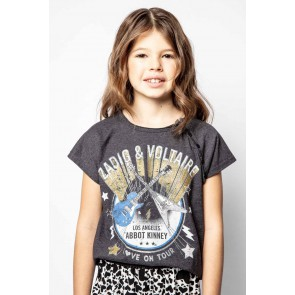 Zadig en Voltaire girls t-shirt Los Angeles in de kleur antraciet grijs