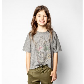 Zadig en Voltaire girls t-shirt met strass steentjes in de kleur grijs