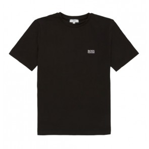 Hugo Boss kids boys t-shirt met mini logo in de kleur zwart