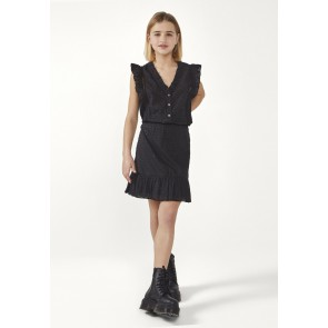 AI&KO kids girls dress jurk Fajenna plumetis met ruches in de kleur zwart