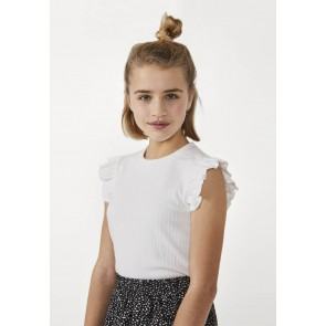 AI&KO kids girls Flora t-shirt met ruches in de kleur off white