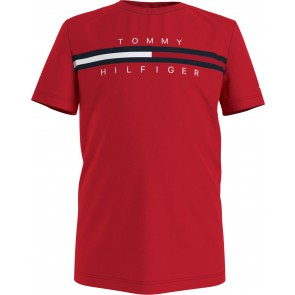 Tommy Hilfiger kids boys t-shirt flag insert tee in de kleur rood